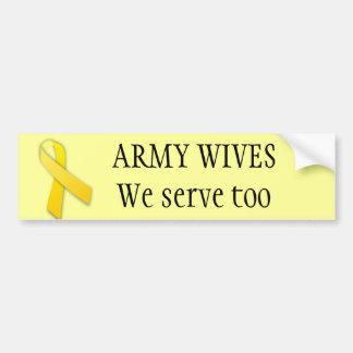 Las esposas del ejército sirven también pegatina para coche