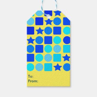 """Las estrellas azules, círculos """"n"""" ajustan etiquetas para regalos"""