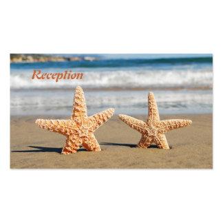 Las estrellas de mar se juntan en la recepción nup tarjetas de visita