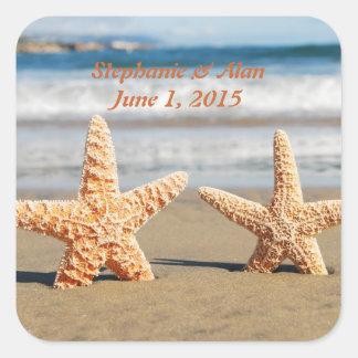 Las estrellas de mar se juntan en los pegatinas pegatina cuadrada