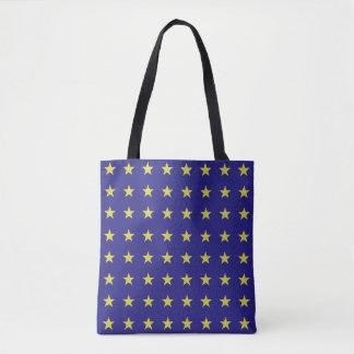 Las estrellas del oro en la UE azul del fondo Bolso De Tela