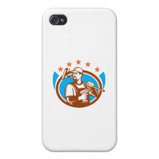 Las estrellas ovales de Paintroller del taladro iPhone 4 Carcasa
