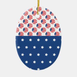 Las estrellas patrióticas rayan la bandera de la adorno ovalado de cerámica