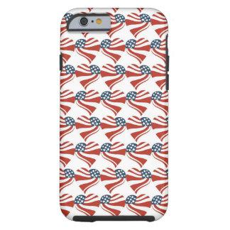 Las estrellas patrióticas rayan los corazones 4tos funda de iPhone 6 tough