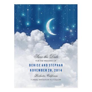 Las estrellas y las luces de luna ahorran las postal