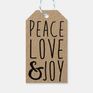Las etiquetas del regalo de la paz, del amor y de etiquetas para regalos