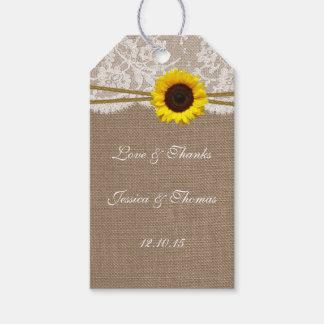 Las etiquetas rústicas de la colección del girasol etiquetas para regalos