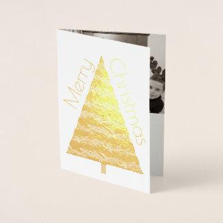 Las Felices Navidad del árbol del oro del día de Tarjeta Con Relieve Metalizado