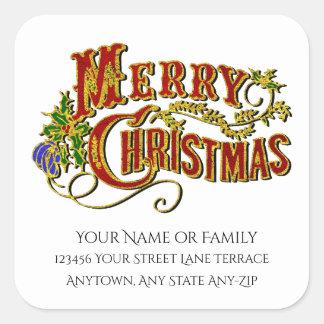 Las Felices Navidad del vintage personalizan Pegatina Cuadrada