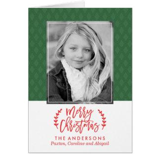 Las Felices Navidad verdes modernas doblaron la Tarjeta De Felicitación