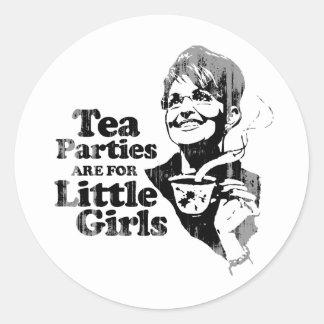 Las fiestas del té están para las niñas - Faded pn Etiquetas Redondas