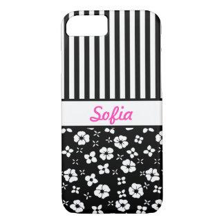 Las flores blancas negras n de n rayan con funda para iPhone 8/7