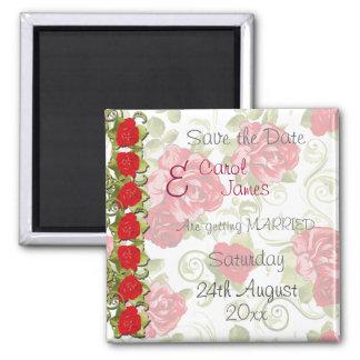 Las flores color de rosa ahorran la fecha imán cuadrado