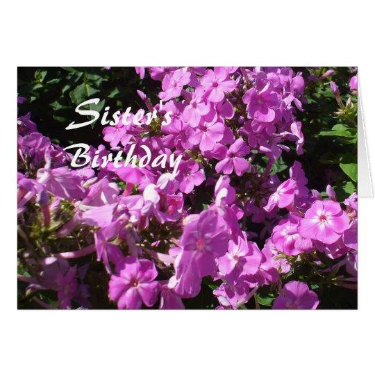 Las flores Cumpleaños-rosadas de la hermana Tarjeta De Felicitación