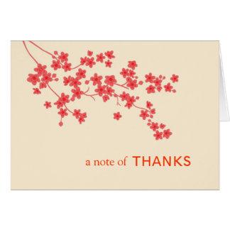Las flores de cerezo le agradecen cardar tarjeta pequeña