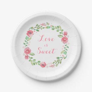 las flores de la acuarela enrruellan el boda lindo plato de papel