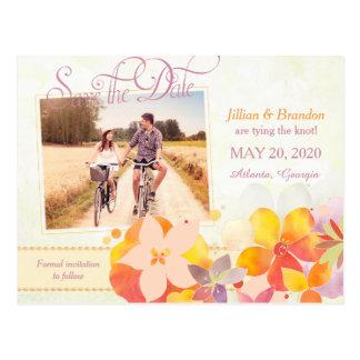 Las flores de la acuarela que casan la foto postal