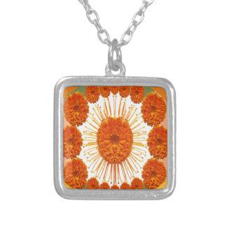 Las flores de la MARAVILLA - case el oro Colgante Cuadrado