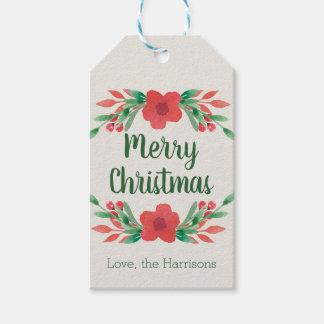 Etiquetas Para Regalos Las flores del navidad personalizaron etiquetas