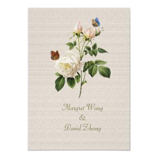 Las flores del rosa blanco del vintage ahorran la invitación 12,7 x 17,8 cm