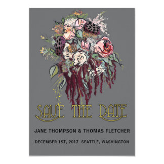 Las flores del Victorian ahorran el gris de la Invitación 12,7 X 17,8 Cm