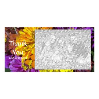 Las flores del Zinnia del jardín le agradecen Tarjeta