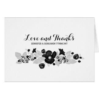Las flores enrruellan negro y el boda blanco le tarjeta pequeña