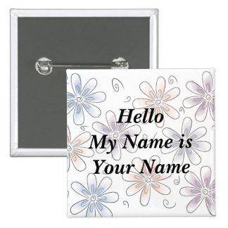 las flores estilizadas, hola mi nombre son su nomb chapa cuadrada 5 cm