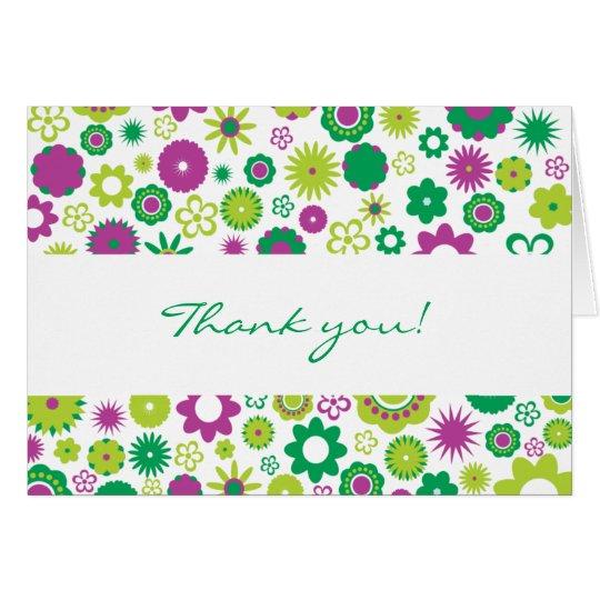 Las flores felices le agradecen cardar tarjeta de felicitación
