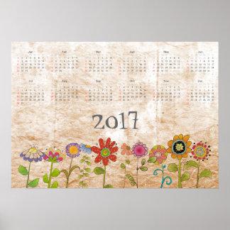 Las flores hacen calendarios 2017 póster