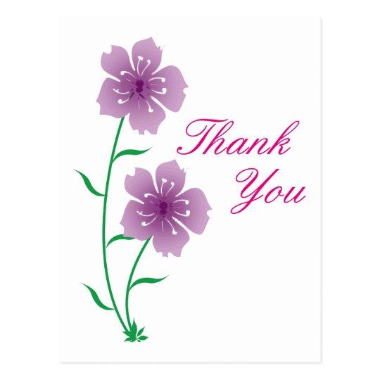Las flores púrpuras le agradecen postal