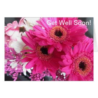 Las flores rosadas consiguen bien pronto tarjeta de felicitación