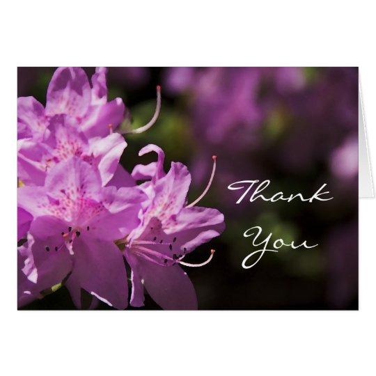 Las flores rosadas del rododendro le agradecen tarjeta pequeña