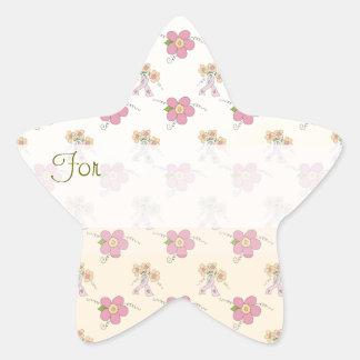 Las flores rosadas modelaron la etiqueta del
