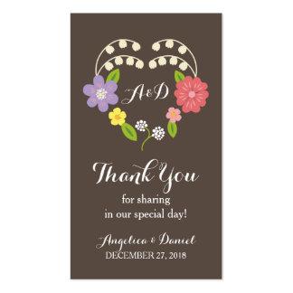 Las flores rústicas caprichosas le agradecen favor plantilla de tarjeta de negocio