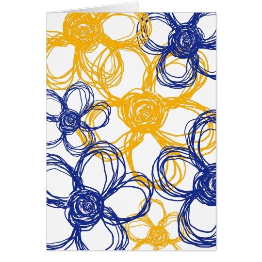 Las flores salvajes azules y amarillas le tarjeta pequeña