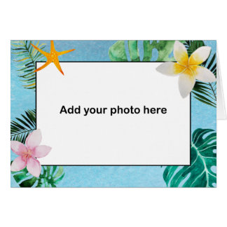 Las flores tropicales de las hojas le agradecen tarjeta pequeña