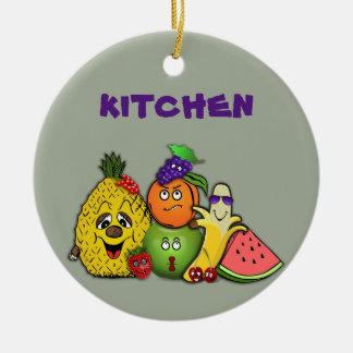 las frutas se dirigen las decoraciones adorno navideño redondo de cerámica