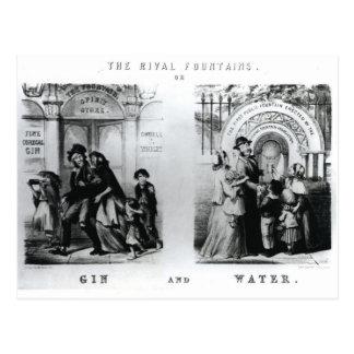 Las fuentes o la ginebra y el agua rivales postal