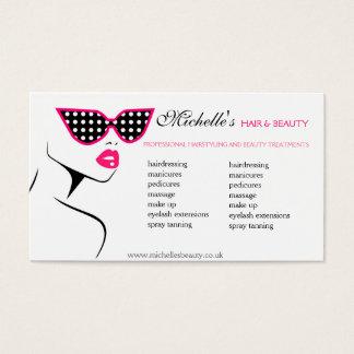 Las gafas de sol punteadas rosa pelo y belleza tarjeta de visita
