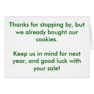 Las gracias por parar cerca, pero nosotros compram felicitación