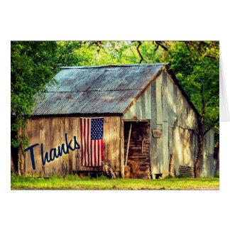 Las gracias rústicas de la bandera americana del tarjeta pequeña