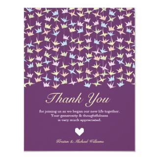 Las grúas de papel colgantes de Origami (púrpuras) Invitación 10,8 X 13,9 Cm