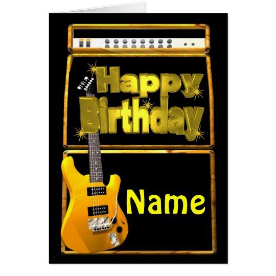 Las guitarras del feliz cumpleaños con añaden tarjeta de felicitación