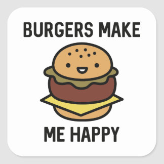 Las hamburguesas me hacen feliz pegatina cuadrada