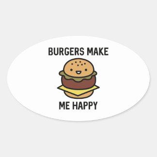 Las hamburguesas me hacen feliz pegatina ovalada