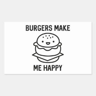 Las hamburguesas me hacen feliz pegatina rectangular