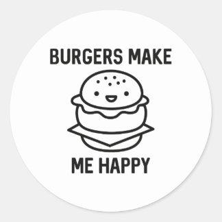Las hamburguesas me hacen feliz pegatina redonda