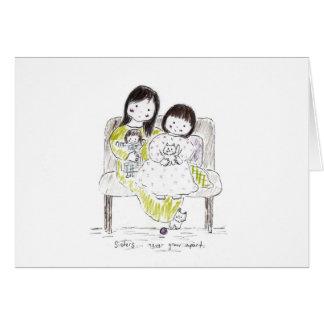 Las hermanas nunca se van separando tarjeta de felicitación