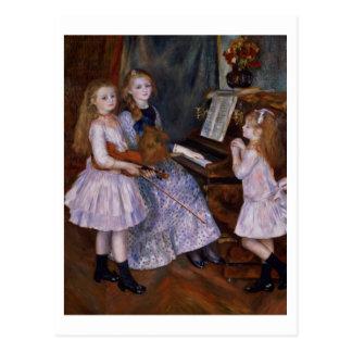 Las hijas de Catulle Mendes en el piano, 1888 Postal
